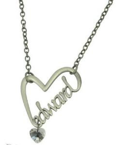 Edward Script Heart Necklace Twilight